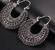 Earrings Hoop Silver Moroccan Ethnic Boho Tribal Arabic Afghan Bohemian Kuchi UK