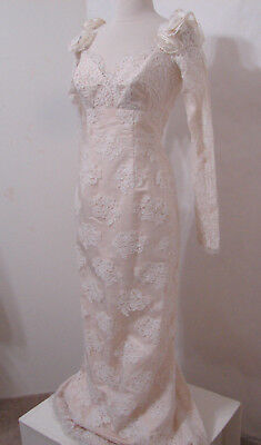 Vintage Cream Off-Shoulder Silk Tape Lace LS Column Wedding Gown W/High Slit S