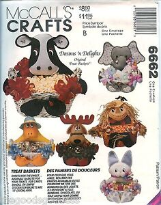 McCalls-6662-Treat-Baskets-Animal-Sewing-Pattern-Cow-Bunny-Duck-Elephant-UNCUT