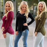 Women Casual Tops T-Shirt Fashion Loose V-Neck Long Sleeve Blouse Pullover