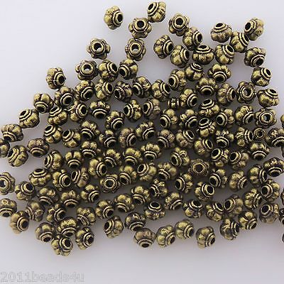50 pcs Antique Brass Finish Alloy Melon Beads/Spacers 5mm #0675