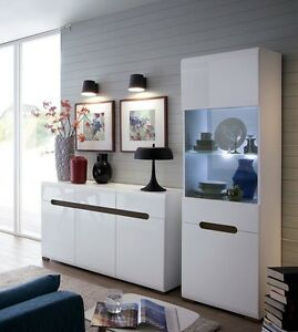 White Gloss Living Room Furniture Set Display Led Unit