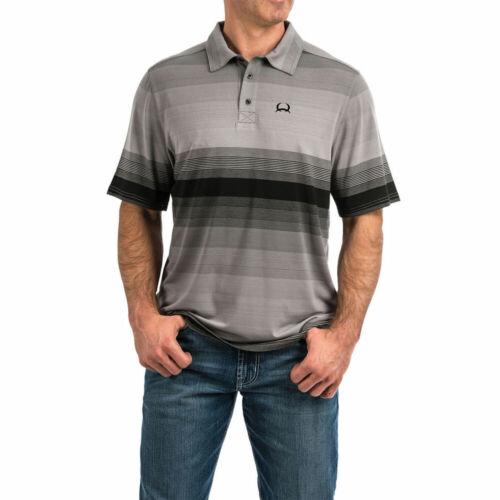 MTK1829002 Cinch Men/'s Striped Button Short Sleeve Polo Shirt Arena Flex  NEW