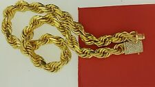 Hip Hop Mens 16mm Rope Chain 14k Solid Gold 450 Grams & 2.90 Carat Diamond Lock