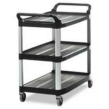 Rubbermaid Commercial Open Sided Utility Cart Three Shelf 40 5 086876148947