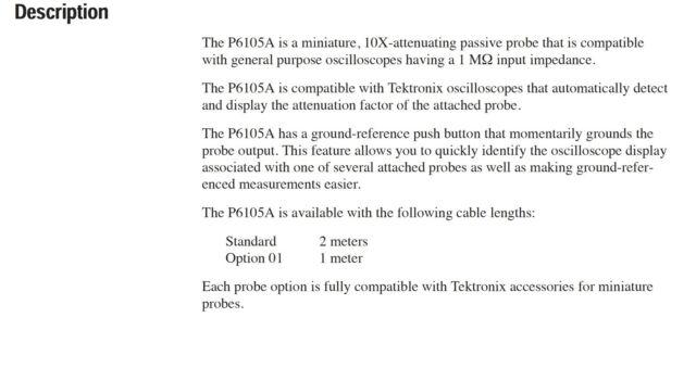 Tektronix P6105A Oscilloscope Passive Probe 100 MHz 10x for sale online