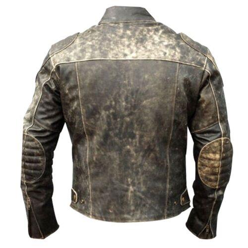 Veste vintage pour moto rétro en cuir vintage vieilli noir motard cYpqrYwFE