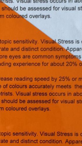 A4 179 Chrome Orange Coloured Sheet Overlay Dyslexia Transparent Stress reading