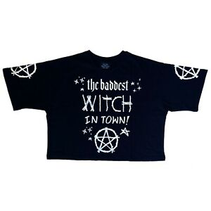 Restyle-Gothic-The-Baddest-Witch-in-Town-Black-Magic-Crop-Top-T-Shirt-Size-XL