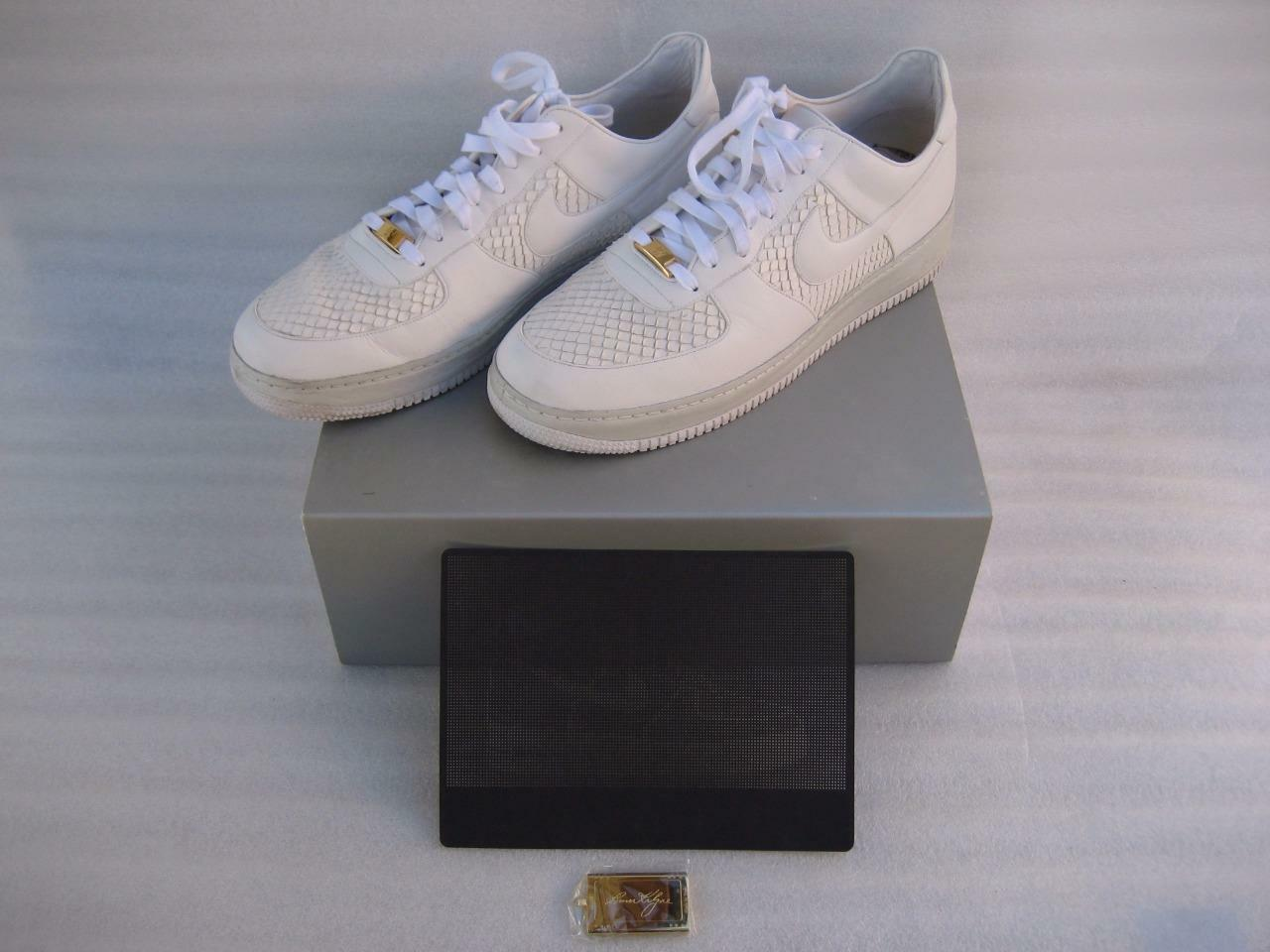 MENS NIKE AIR FORCE 1 LUX WHITE ANACONDA LEATHER SHOES US SIZE 11 315583 111
