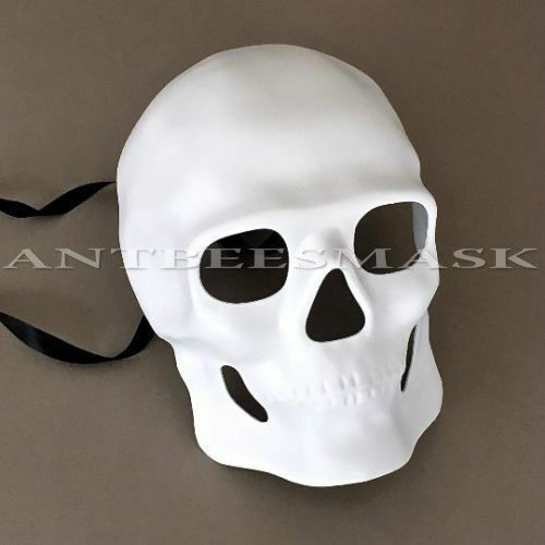 Hand-Painted Venetian Skull Black Eye Accent Halloween Mask