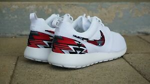42f341d7ee83 New Nike Roshe Run Custom Red Black Gray Tribal Edition Men Sizes 8 ...