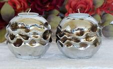 Kerzenleuchter Teelichthalter Paar Windlicht silber Kerzenhalter Teelichtschale
