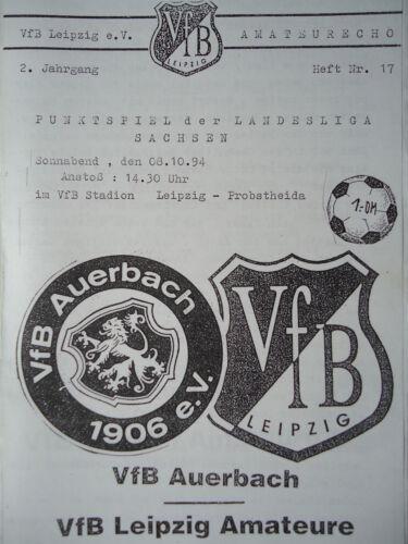 Programm 1994//95 VfB Leipzig Am VfB Auerbach