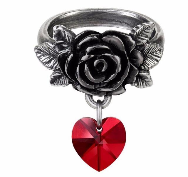 Elizabethan Lord Dudley Crown Ring Purple Crystal Heart Alchemy Gothic R156