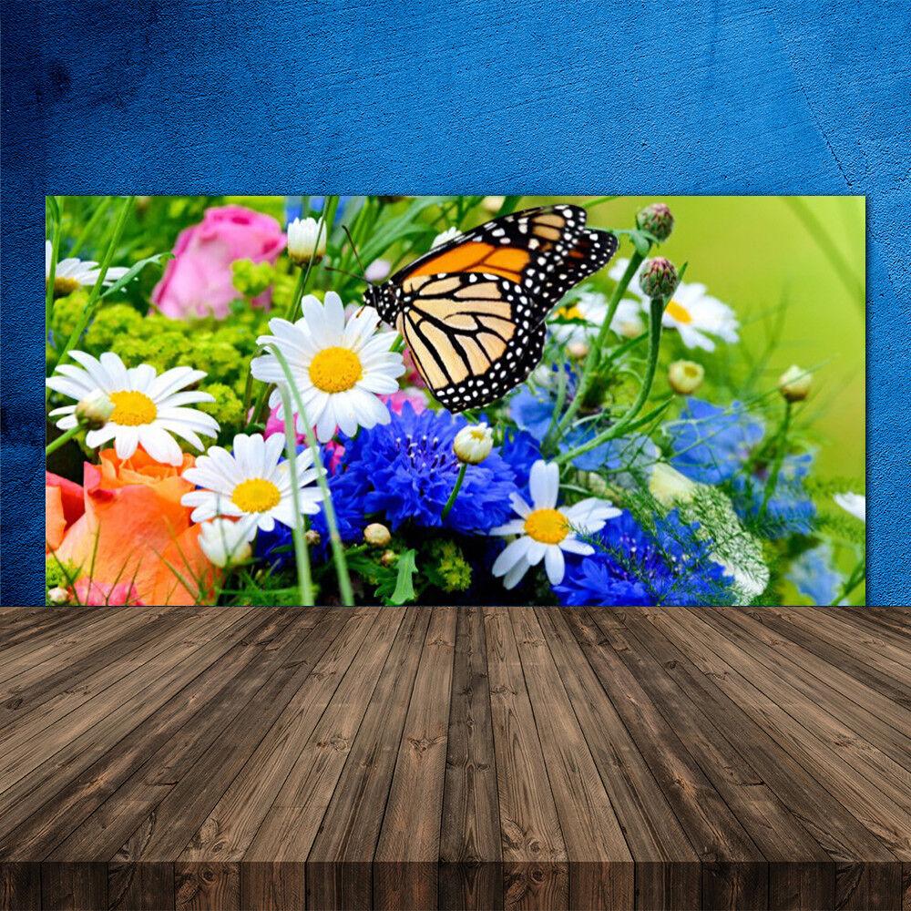 Crédence de cuisine en verre Panneau 120x60 Nature Fleur Papillon