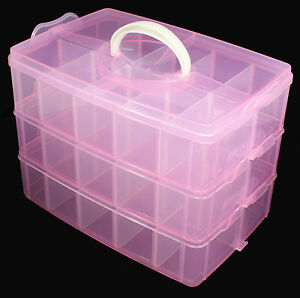 Image is loading Multi-Empty-Plastic-3-layer-Storage-Box-Case- & Multi Empty Plastic 3-layer Storage Box Case Nail Art Craft Makeup ...
