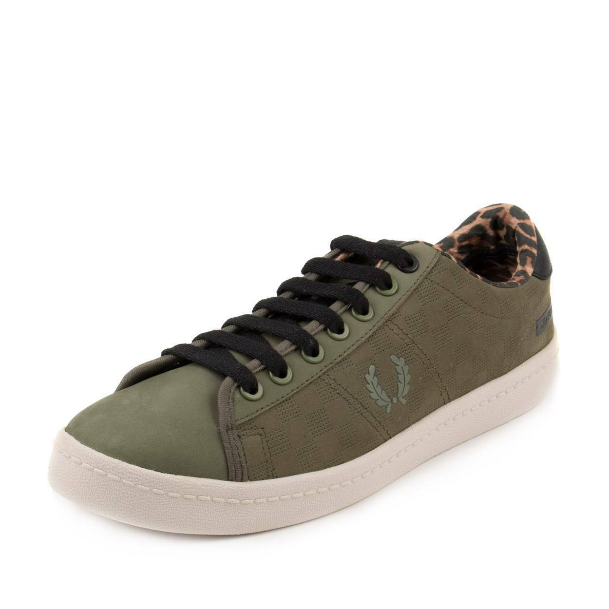 Fred Perry Mens Bodega ReIssue Tennis shoes 2 Olive Green Black-Leopard SB7060