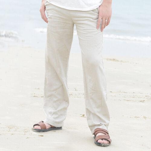 Men Cotton Linen Trousers Pants Beach Drawstring Yoga Elasticated Solid Casual