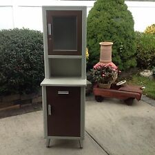 Antique Metal Glass Apothecary Medical Dental Doctor Pharmacy Industrial Cabinet