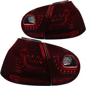 LED-Rueckleuchten-fuer-VW-Golf-V-5-1K1-Bj-03-09-dunkelrot-GTI-R-Optik-nur-Limo
