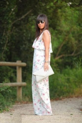 241efd08985 ZARA CREAM PASTEL MAXI LONG DRESS TOP STRAPS CELEBRITY WITH FLORAL ...