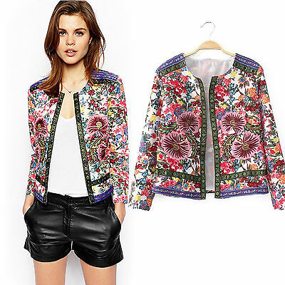 Women's Boho Floral Bohemian Cardigan Short Thin Coat Jacket Blazer Outwear Tops