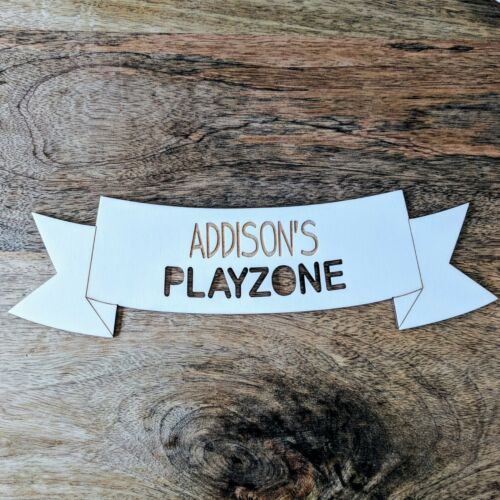 Custom Banner Plaque Personalised Wooden Bedroom Sign Playzone Banner Style
