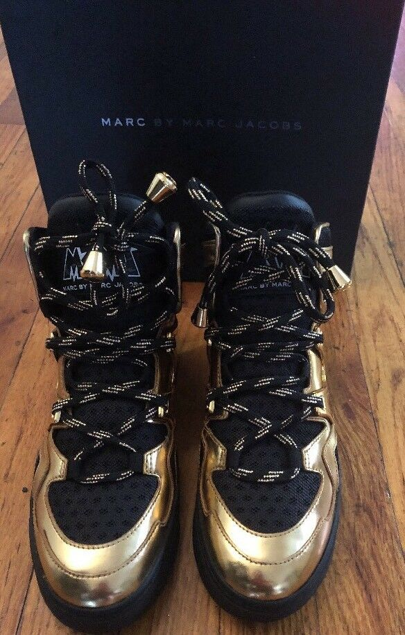 0af6f68dd667 ... MARC BY MARC MARC MARC JACOBS Ninja Metallic High Top Sneakers Women s  Gold Shoes 483ebf ...