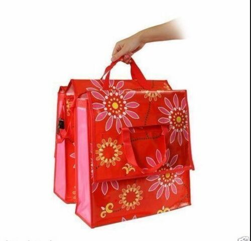 Flower Fahrradtasche rot  Gepäckträgertasche Doppeltasche Fahrrad-Tasche