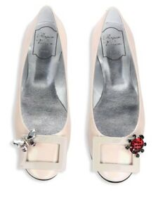 6f21b982f2fc3 Image is loading Roger-Vivier-pink-Gommette-ballerina-patent-leather-flats-