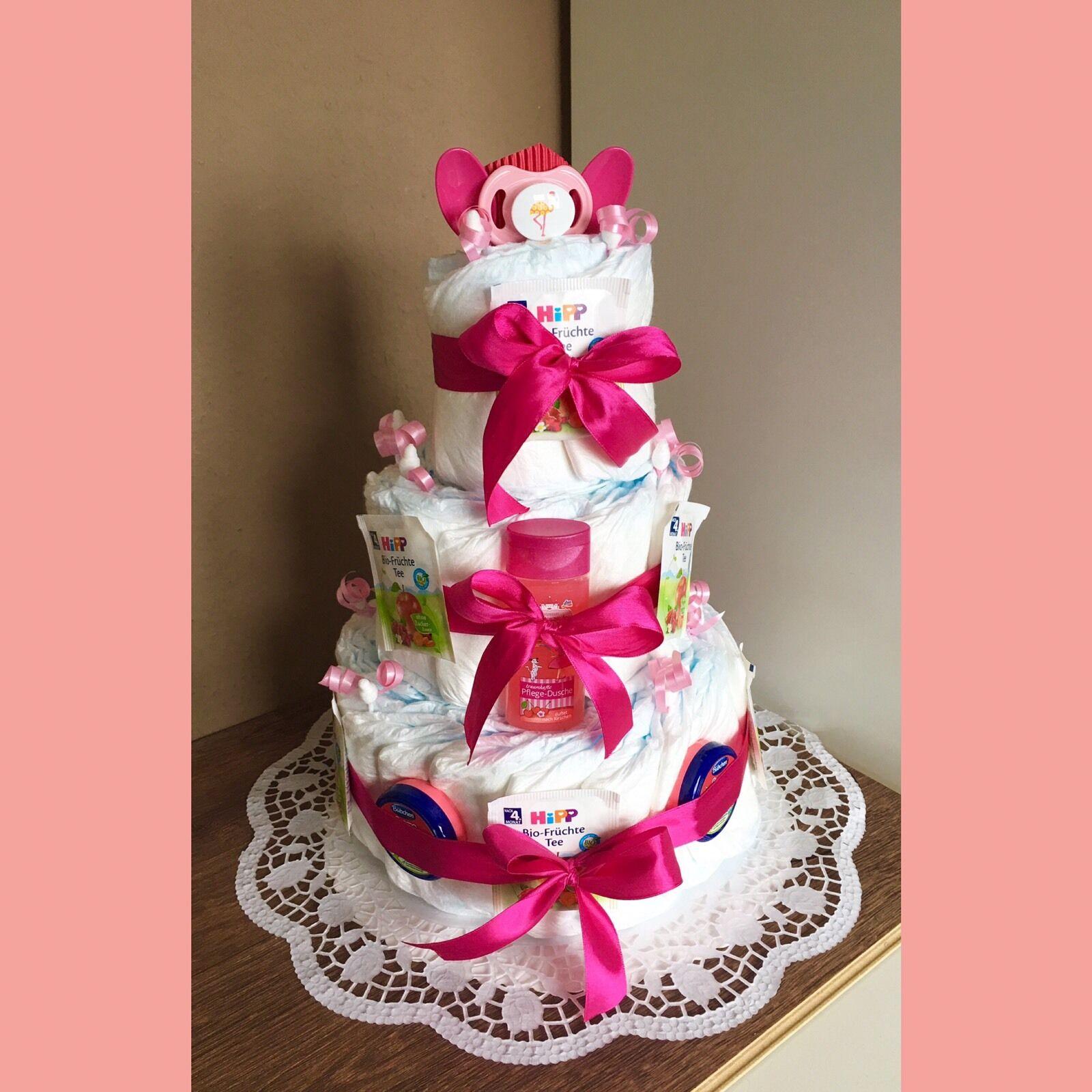 Geschenk zur Geburt Baby Party Windeltorte für Mädchen ROSENBLÜTE rosa