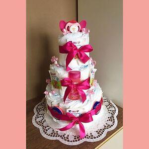 Windeltorte Mädchen Baby Rose Super Geschenk Zur Geburt Taufe O