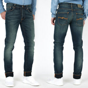 B-Ware-Neu-Nudie-Herren-Slim-Fit-Stretch-Jeans-Grim-Tim-Deep-Blue-W30-L32