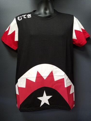 Men/'s Imperious Shark Mouth Star Japanese Hiragana T-Shirt Black