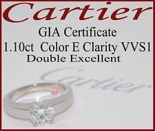 CARTIER PLAT DECLARATION D'AMOUR DIAMOND SOLITAIRE RING ~GIA CERT 1.10ct E VVS1