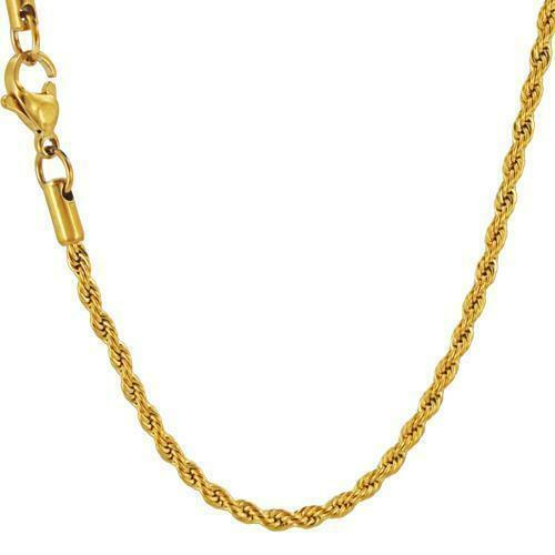 Stainless Steel 24 inch 2mm Gold Ion Plated Rope Chain FC017L24