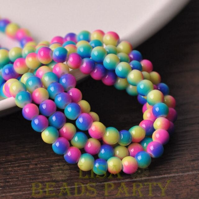 New 50PCS 6mm Round Glass With Color Coated Loose Spacer Beads Yellow&Blue&Red