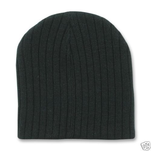Black Ribbed Knit Cable Style 8 Inch Short Beanie Winter Ski Cap Caps Hat Hats