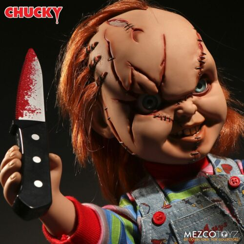 "Child/'s Play Chucky Talking Scarred Mega Scale Doll with Sound 15/"" Mezco"