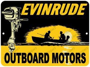 Aluminum Sign Evinrude Outboard Motor Boat Rustic Garage Repair Man Cave Ebay