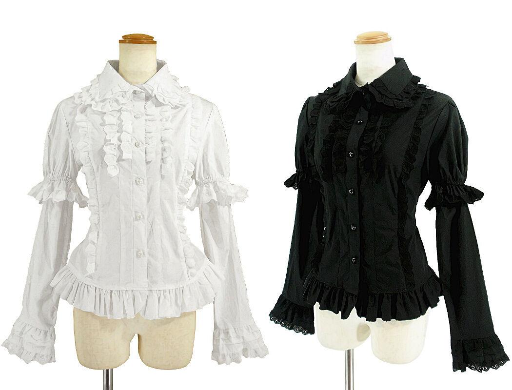 damen Classic Gothic Lolita Lace Ruffle Blouse Separatable Sleeve schwarz Weiß