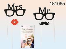 Accessori da party su bastoncino MR MRS occhiali bacio baffi