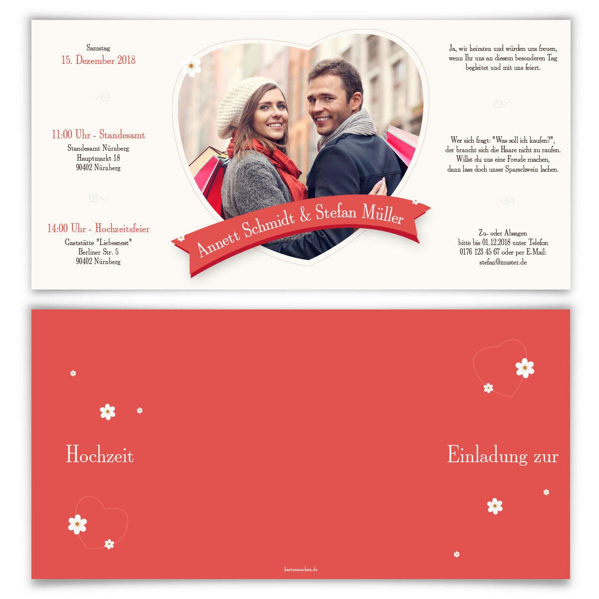 Hochzeitseinladungen Hochzeit Einladungskarten Einladungskarten Einladungskarten Einladung - Gänseblümchen Liebe 2a16d0