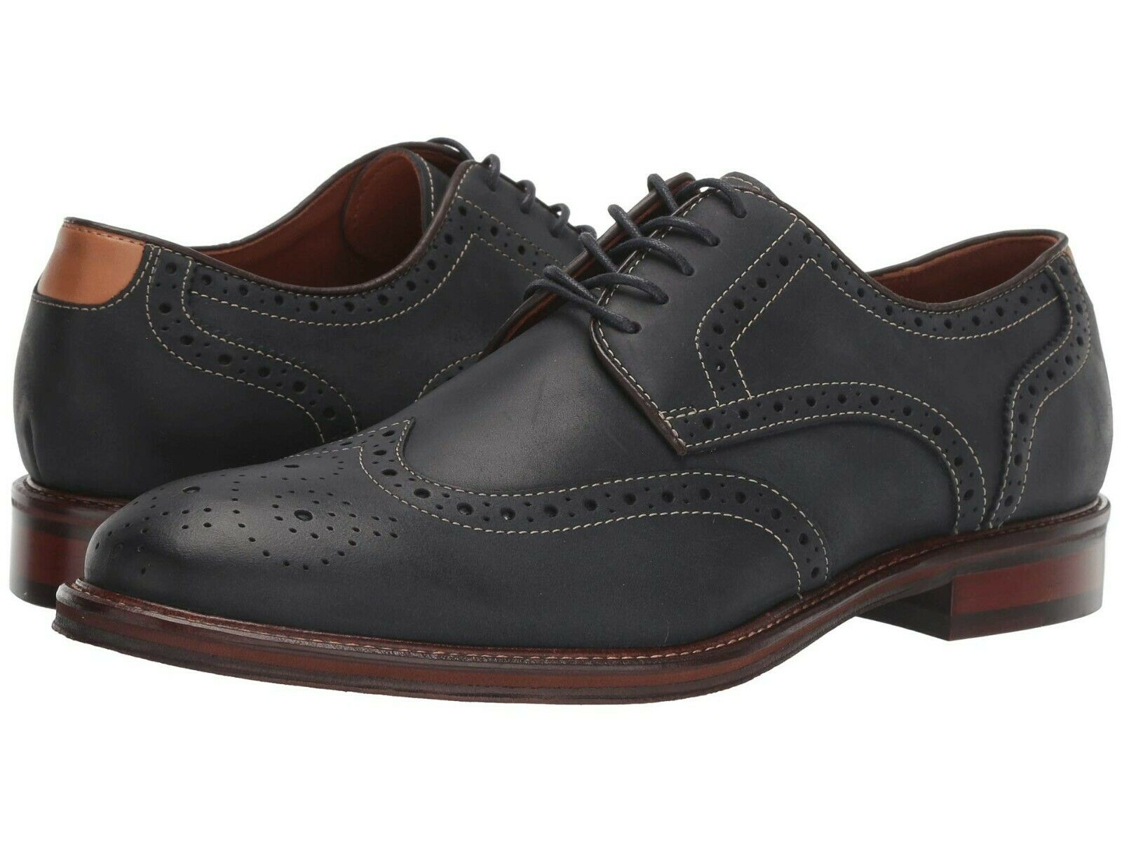 Men's Johnston & Murphy Warner Oiled Leather Wing Tip Oxford, 20-3947 Sizes Navy
