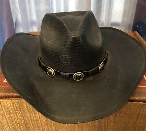 30264b00e Details about NWOT Black Straw Cowboy Hat CHARLIE 1 HORSE 21 1/2