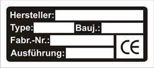 Typenschild-Typenschilder-Datenschild-Datenschilder-Herstellerschild-Schilder