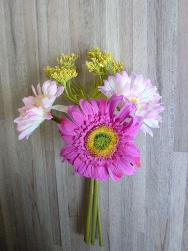 Gerbera Bouquet pick soie fleur art fleur rose rose blanc 22 cm 40023-3 f19