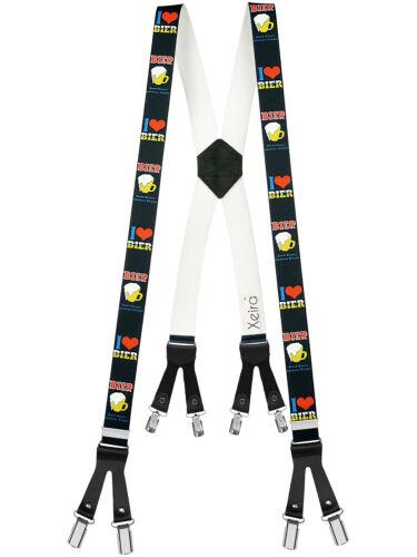Xeira Hosenträger im X Design mit Lederriemen und mit  8 Clips