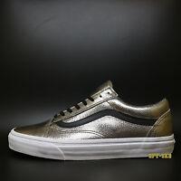 Vans Old Skool Metallic Leather Bronze Black Mens Size 10